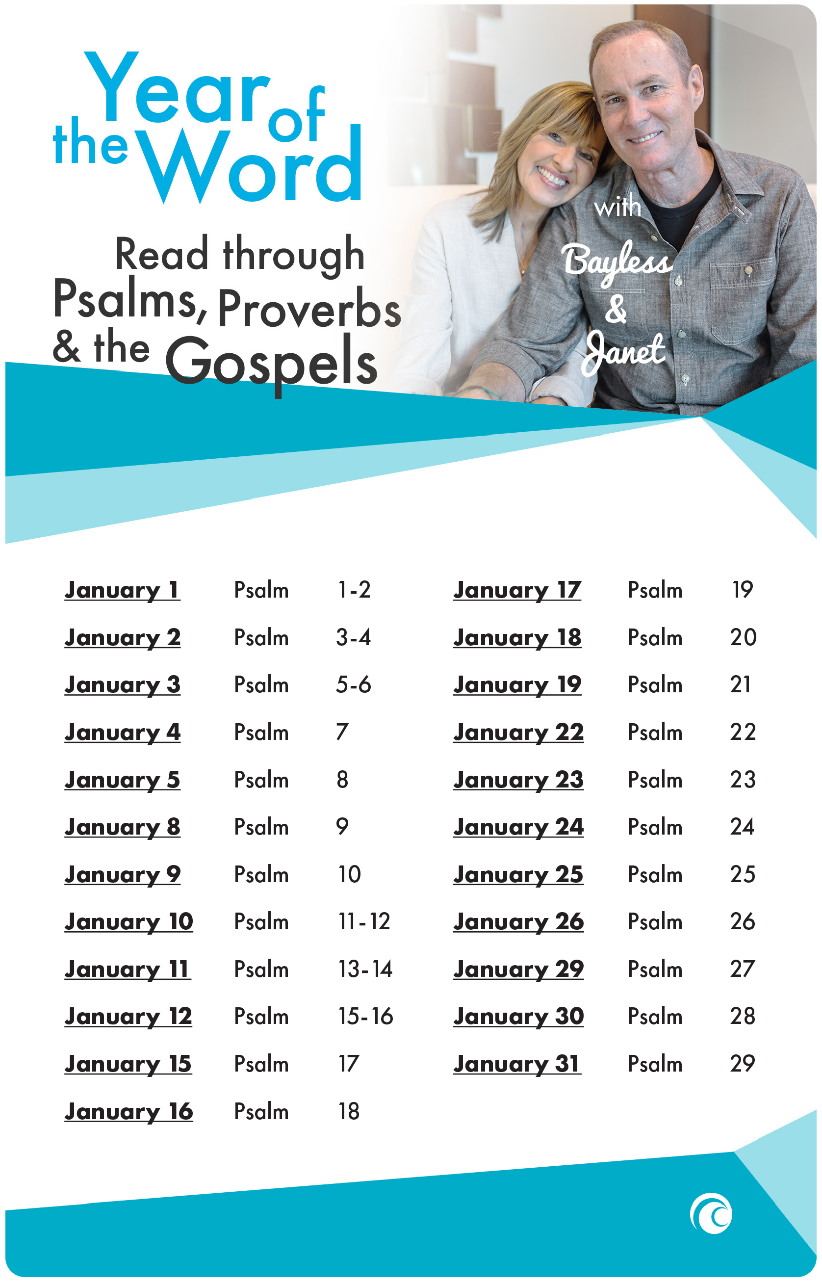Year of the Word January 2018 Psalms Proverbs Gospels