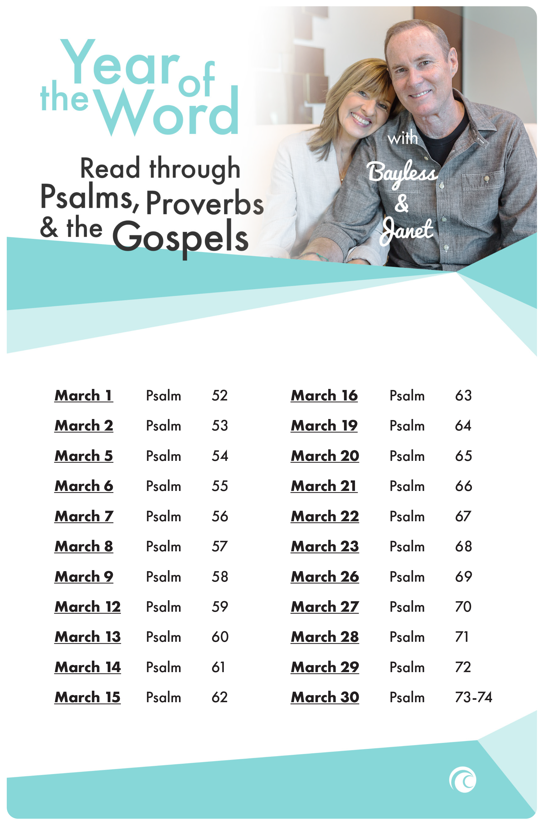 Year of the Word Psalms Proverbs Gospels March 2018