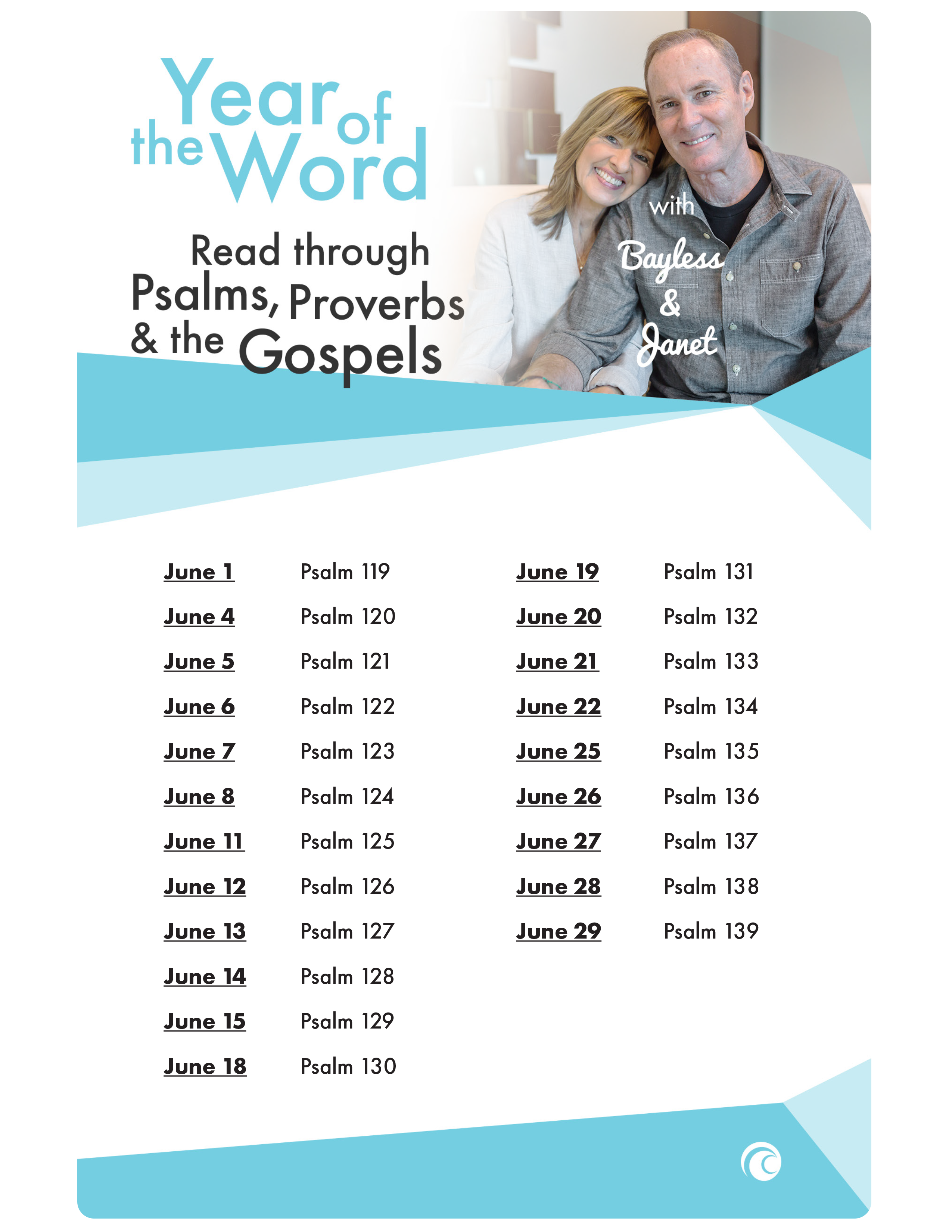 YOTW Psalms Proverbs Gospels June 2018
