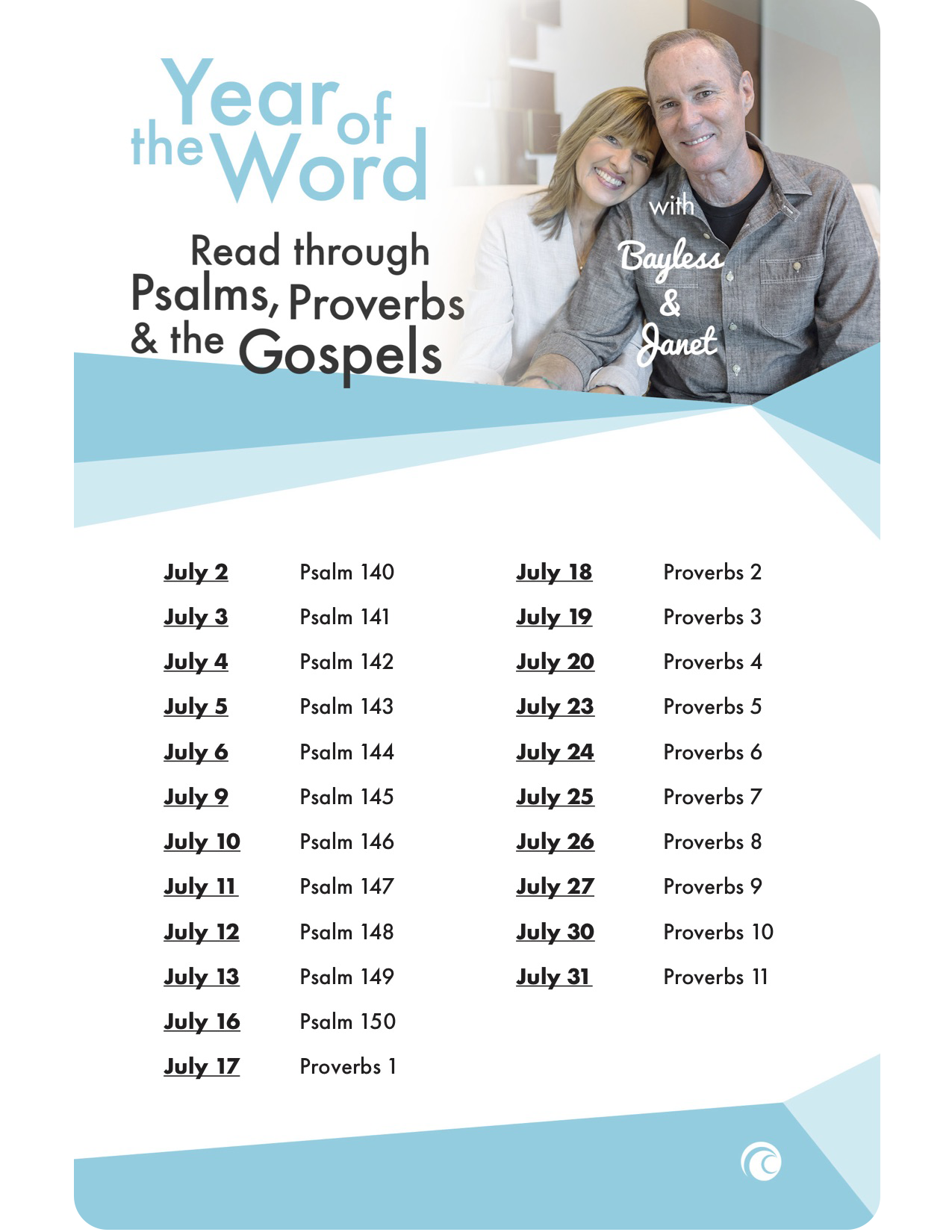 year of the word with bayless and janet read through the psalms proverbs and the gospels