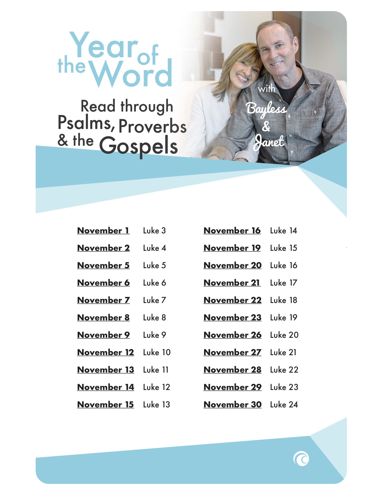 year of the word with bayless and janet read through psalms provers and the gospels schedule
